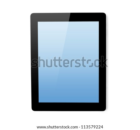 tablet touch computer gadget on an isolated background.