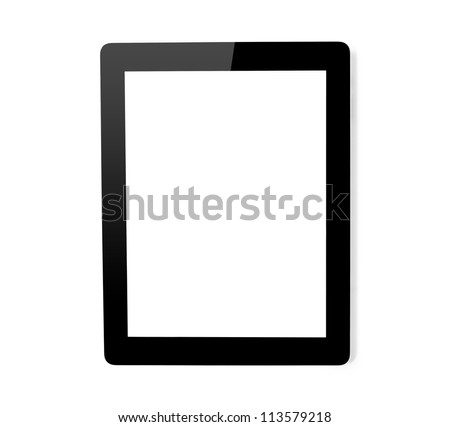 tablet touch computer gadget on i solated background.