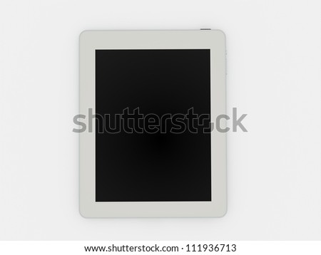 Tablet white with black screen - stock photo