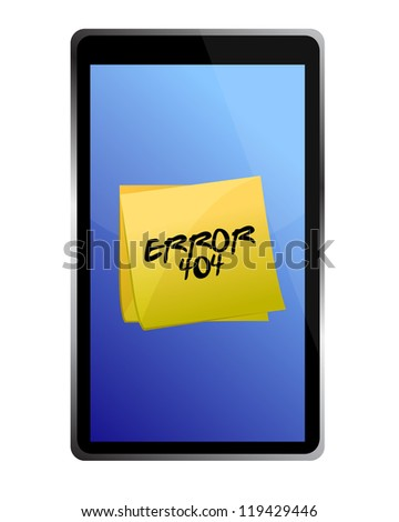 tablet with a 404 error message illustration design over a white background