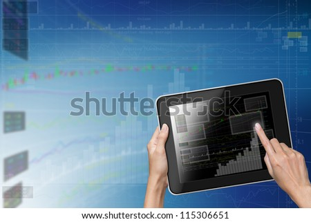Tablet with business Chart-icons background.