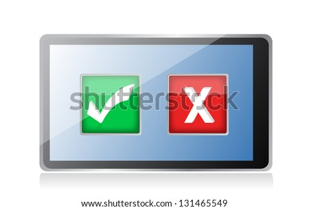 tablet with check and x marks selection illustration design over white