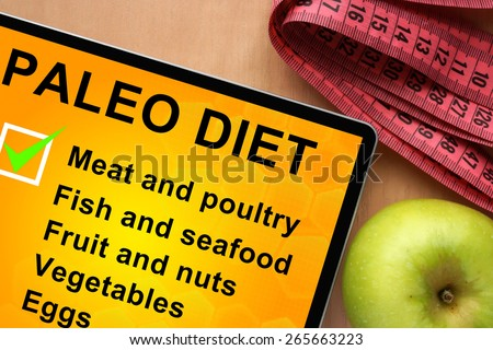 Tablet with paleo diet food list