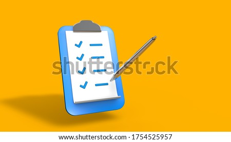 Tablet with paper clip. To-do list. 3D illustration, 3D rendering.