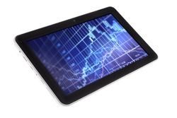 Tablet with stockchart diagram in screen