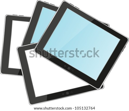 tablets pc with empty white and blue screen and black frame. Object isolated of background - raster