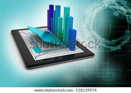 Tablets with a bar graph