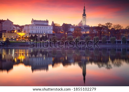 Tabor, Czech Republic. Cityscape image of Tabor, Czech Republic at beautiful autumn sunset. Foto stock ©