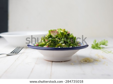 Taboulleh - a middle eastern salad made with fresh herbs. Salad bowl from front view.