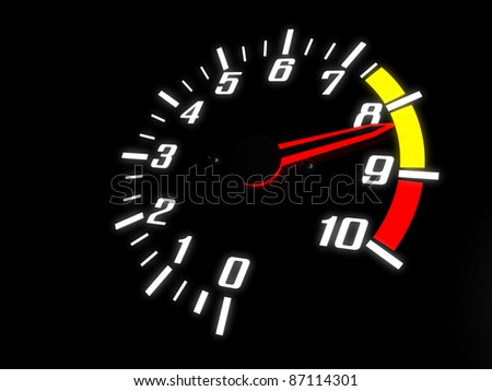Tachometer Almost Reaching The Red Zone