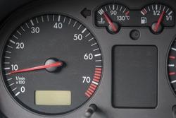 Tachometer, engine water temperature indicator, fuel tank indicator. Volkswagen Golf car.