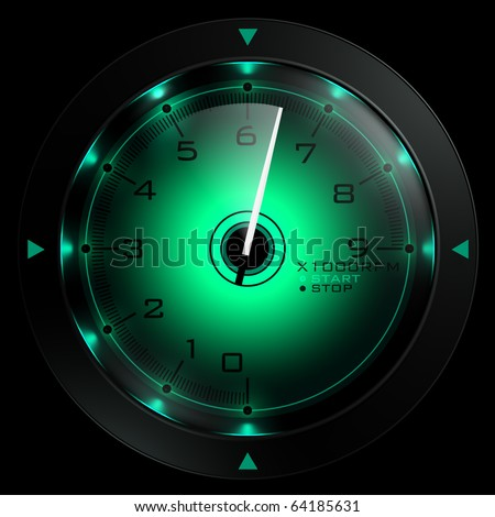 Tachometer green  isolated on black 3D render