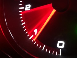 Tachometer of a car in acceleration
