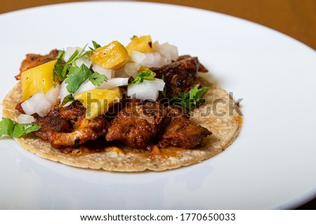 taco al pastor, mexican food isolated on a white plate Stok fotoğraf ©