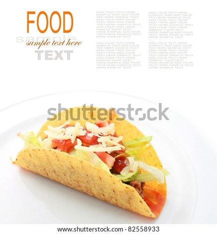 Taco or Tortilla shells with spicy chilli beef