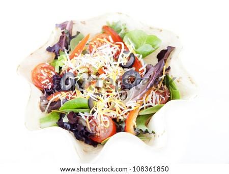 Taco Salad isolated on white