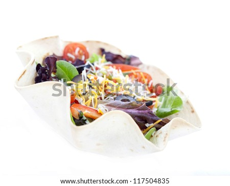 Taco salad on a white background