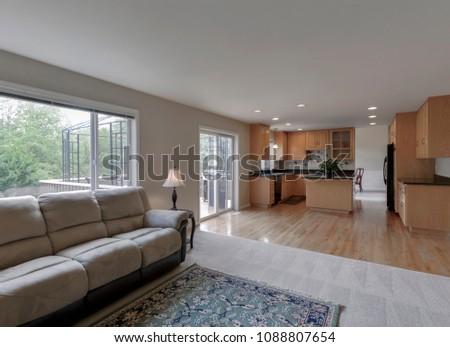 Tacoma, WA / USA - May 10, 2018: Luxury living room and kitchen interior #1088807654