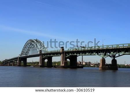 Tacony Palmyra steel bridge over the Delaware River connecting Philadelphia Pennsylvania to New Jersey