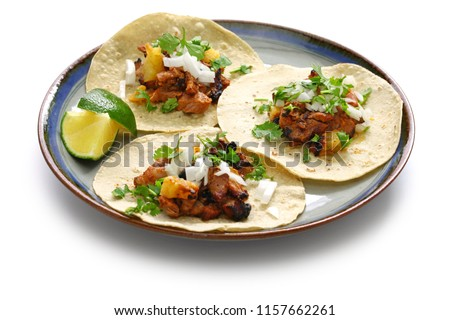 tacos al pastor, mexican food isolated on white background