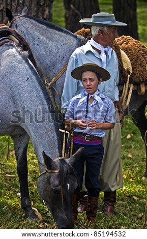 "TACUAREMBO, URUGUAY - MAR 5 : An unidentified participants in the annual festival ""Patria Gaucha"" on March 5, 2011 in Tacuarembo, Uruguay."