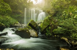 Tad Sua waterfall, waterfall .Landscape of waterfall in deep rain forest of Bolaven Plateau,
