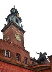 Tadeusz Kosciuszko Monument near Bastion of Vladislav IV and western entrance of Wawel, is one of best known bronze monuments in Poland, Krakow, Poland