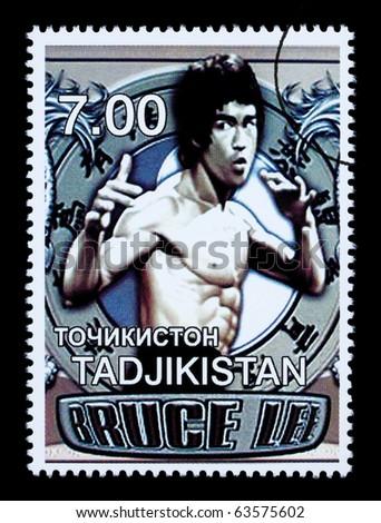 TADJIKISTAN - CIRCA 2000: A postage stamp printed in Tadjikistan showing Bruce Lee, circa 2000
