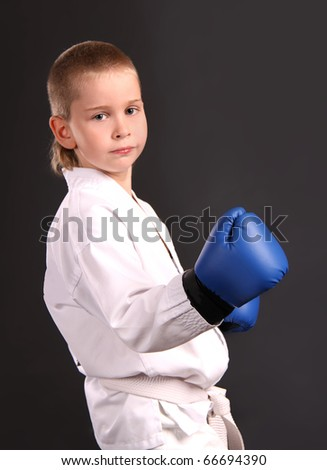 Taekwon-do boy in boxing gloves