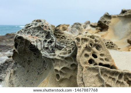 Tafoni formation - cave like features and honeycomb like structures created in rock through a weathering process #1467887768