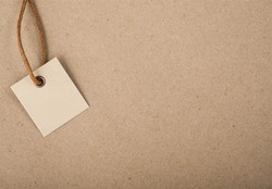 tag beige brown background. label paper space for text
