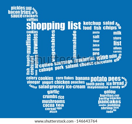 Tag Cloud Composed Of Words Related To Grocery Shopping White – Grocery Words