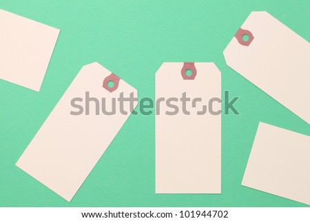 Tag or label on green paper background