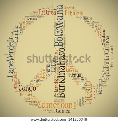 Tag or word cloud concept Africa related in shape of peace sign