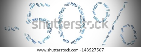 Tag or word cloud sale or fifty percent discount related in shape of percentage value