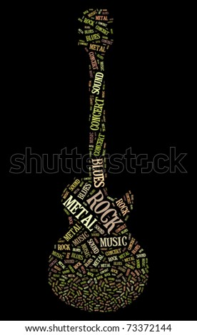 Tagcloud: guitar silhouette of music words