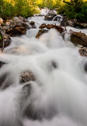 Taggart Creek Tumbles Over Rocks in Grans Teton Ntional Park