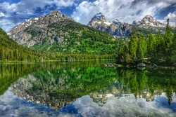 Taggart Lake with mirror reflection, Grand Teton National Park, Wyoming