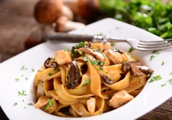 Tagiatelle pasta with creamy sauce with porcini mushrooms and chicken