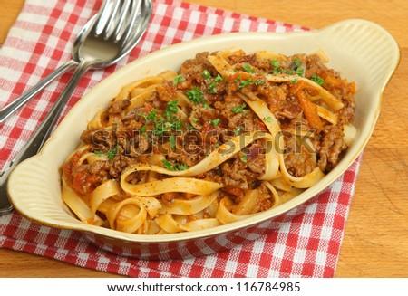 Tagliatelle pasta with bolognese sauce