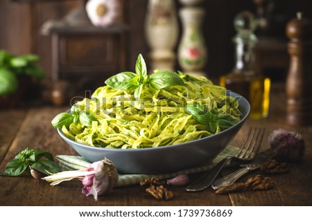 Tagliatelle pasta with pesto sauce Zdjęcia stock ©