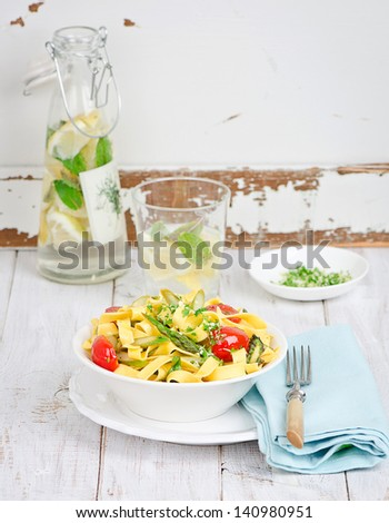 Tagliatelle with a green asparagus