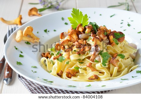 Tagliatelle with fried fresh chanterelles
