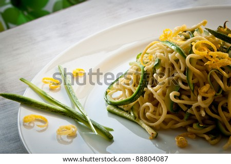 Tagliolini, a type of fresh pasta similar to spaghetti, in a courgettes and lemon sauce.