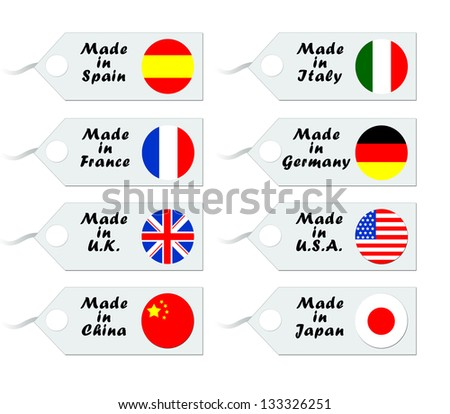 Tags for purchase with flags of different countries #133326251