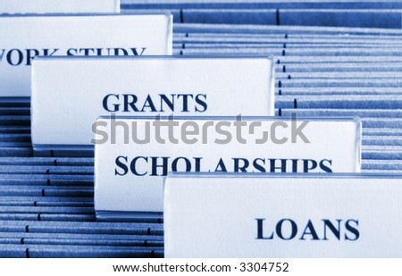 Tags on files  in a filing cabinet describing the different sources of financial aid for college. Focus on the tag scholarships, toned blue