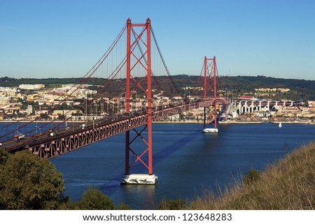 "Tagus river and Bridge ""25 de Abril"", Lisbon - Portugal"