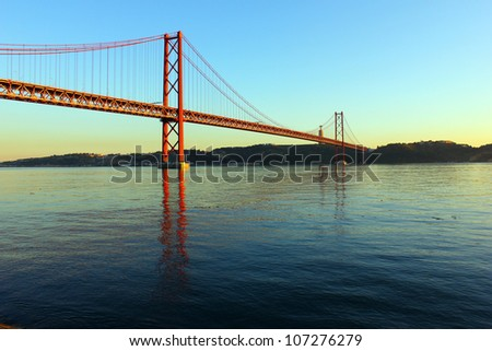 Tagus River and Bridge, Lisbon, Portugal. The Tagus River and the Bridge are two of the most important landmarks of Lisbon.