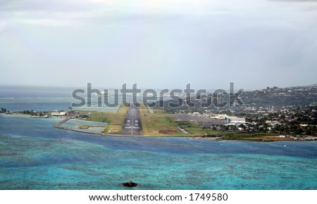 Tahiti airport runway at landing