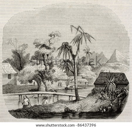 Tahiti island old view. Created by Lebreton, published on Magasin Pittoresque, Paris, 1843